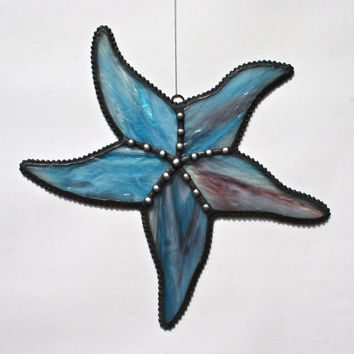 Stained Glass STARFISH Suncatcher--Wispy Turquoise, Amethyst, & White -- USA Handmade Original