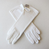 White Hand Treat Nylon Stretch Gloves with Embroidered Details -- NEW OLD STOCK w/ Tags & Inserts