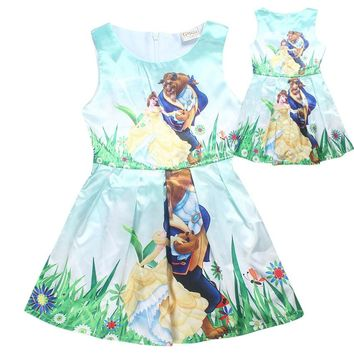Toddler Girls Summer Belle Dresses Princess Costume Party Clothing Beauty and the Beast Lovely Dress Sleeveless Moana Clothes