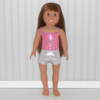 American Girl Doll Clothes Hot Pink Leotard and Silver Dance Shorts fits 18 inch Dolls