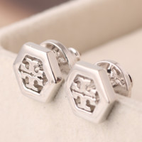 Tory Burch Fashion New Metal Hollow Earring Women Accessories Silver