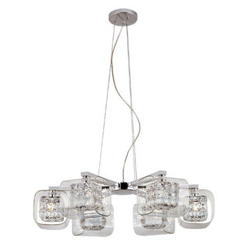 Trans Globe Lighting MDN-1114 Glassed Cube 5 Light Propeller Pendant with Clear Glass and Clear Crystal Insets