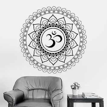 Wall Decal Buddha Aum Sanskrit Symbol Mandala Ornament Vinyl Decal (z2894)
