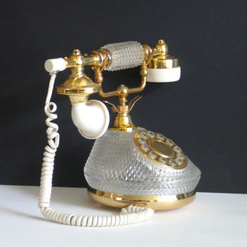 Crystal Telephone, Glass Phone, Vintage Crystal Phone
