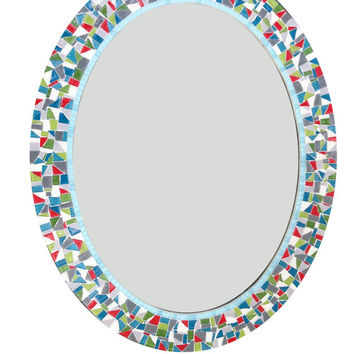 Colorful Oval Mosaic Wall Mirror / Teal, Green, White, Red, Aqua, Gray