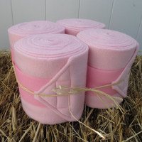 Set of 4 Polo Wraps for Horses- Light Pink with Pink Velcro Closure