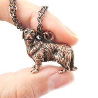 Realistic Golden Retriever Puppy Dog Shaped Animal Pendant Necklace in Copper | Jewelry for Dog Lovers
