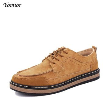 Yomior New 2017 Mens Shoes Flock Leather Men's Thick Bottom Handmade Mens Loafers Fashion Designer Casual Shoes for Man Footwear