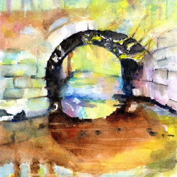 "Stone Arch Bridge, 8x10"", ORIGINAL Watercolor Landscape Painting, Autumn Colors,New England, Water, Fall Season,Reflection,River, Rail Trail"