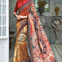 Multi-colored Saree with Red Blouse