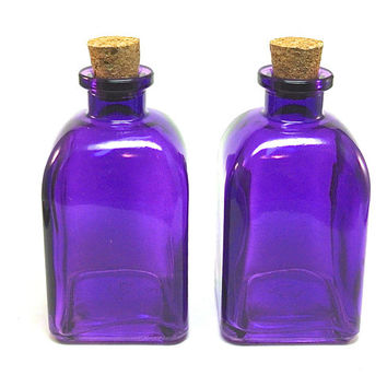 2 Violet Glass Bottles with Corks, 250ML 8.5 ounce, Reed Diffuser Bottle, Terrarium, Bath Salt, Spices, Candy Jar, Roma Glass Container