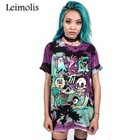 Leimolis summer funny 3D print Gothic skull aliens Vampire harajuku kawaii punk rock O-Neck short sleeve t-shirt women tops