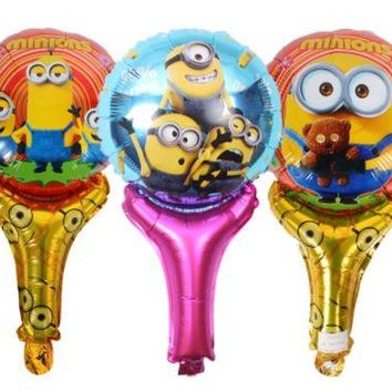 cartoon minions Blow rod blow stick balloons foil balloons party supplies decoration kids cheering sticks wedding decoration