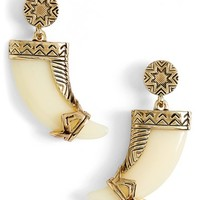 Women's House of Harlow 1960 Horn Drop Earrings - Gold/ Ivory