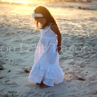 White Linen Maxi Dress - Size 5 and 6 years - Flower Girl Dress - Beach Wedding Dress - Beach Family Photo Dress