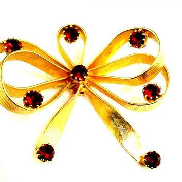 Vintage Goldtone/ Ruby Red Stones  Bow Brooch Vogue Jewels 1950s