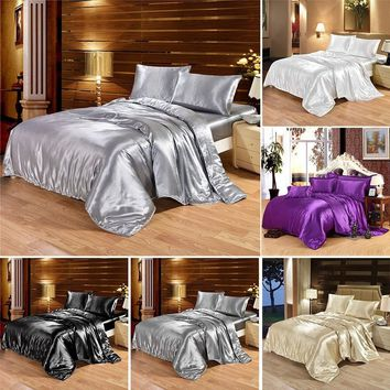 Super Luxury Pure Satin Silk Bedding Set Duvet Cover Flat Sheet Pillowcases 4pcs No Comforter
