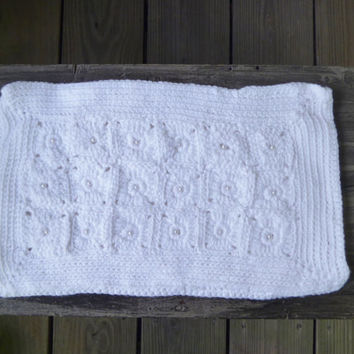 White Crochet Clutch Purse with Pearl Beads