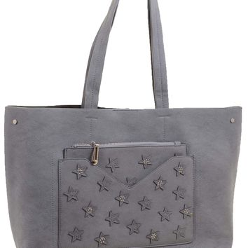 Vegan Leather Star Embroidered Tote Bag Purse w/ Removable Cosmetic Bag