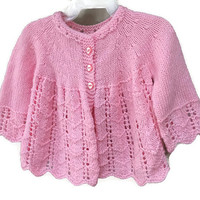 Pink Baby Sweater, Newborn Baby Girl Clothes, Knitted Cardigan Sweater, Vintage Baby Girls Soft Handmade Infant Clothing 0-3m Infant Sweater