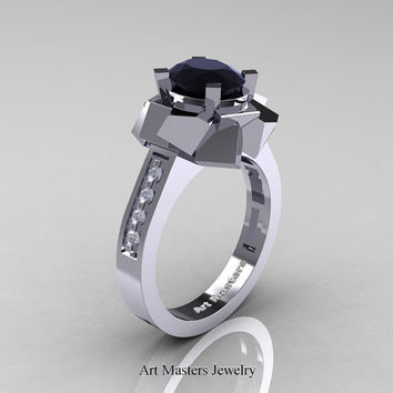 New Modern 14K White Gold 1.0 Ct Oval Black Diamond Accent White Diamond Engagement Ring AR136-14KWGDBD