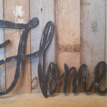 Black shabby chic rustic HOME sign CUSTOMIZE your own WORD decor farmhouse photo prop cottage primitive style barn decor rusty