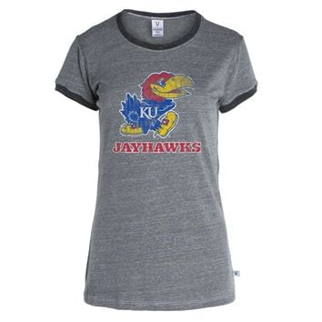 Official NCAA University of Kansas Fighting Jayhawks KU ROCK CHALK! Women's Boyfriend-fit Short Sleeve Crew Neck Soft Premium Ringer Tee