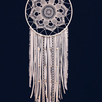 Large White Doily Dream Catcher / Handmade Dream Catcher
