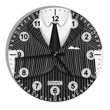 """Pinstripe Gangster Jacket Printed Costume 8"""" Round Wall Clock with Numbers All Over Print"""