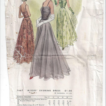 McCall 7667 Pattern for Misses' Evening Dress, Size 16, Circa 1940, Shirred Bodice, UNCUT, McCall's Vintage Pattern, Home Sewing Pattern