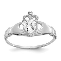 14k White Gold April Clear CZ Heart Claddagh Ring