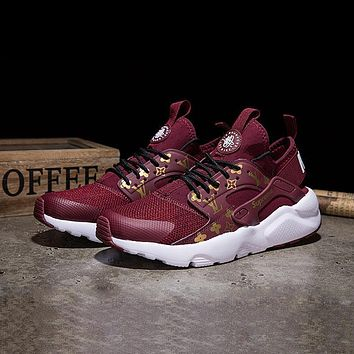 Sale LV x Supreme x Nike Air Huarache Custom Red White Sport Running Shoes