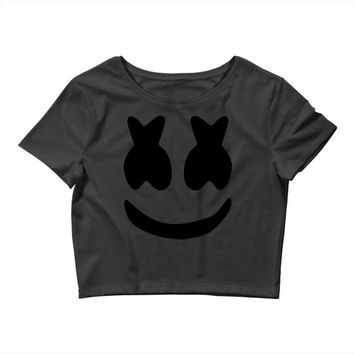 marshmello Black Logo Crop Top