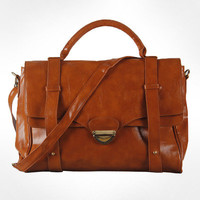 Women's Utility Crossbody Shoulder PU Leather Handbag Satchel-Brown from masslandstyle