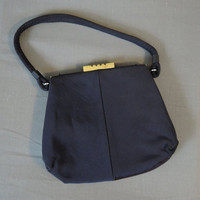Small 1940s Dark Blue Purse, Vintage Rayon Faille Handbag by J.R.