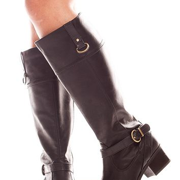 BLACK FAUX LEATHER KNEE HIGH SIDE BUCKLE BOOTS