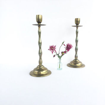 Pair of English Brass Candlesticks, Vintage Brass Candlesticks Made in England