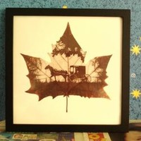 Leaf engraving art of wedding carriage for great handmade wedding gift idea for wall art, bedroom decor