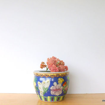 Chinese Ceramic Planter 1970s Flower Pot Asian Decor Butterfly Planter Bird Planter Colorful Flower Pot