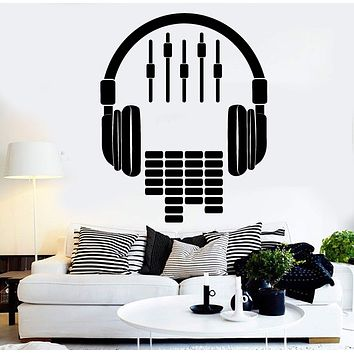 Vinyl Wall Decal Headphones Sound DJ Music Musical Stickers Unique Gift (ig4441)