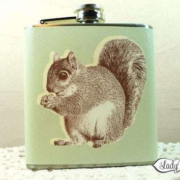 Squirrel with Acorn 6oz Hip Flask  Accessories  Sage by LadyRene