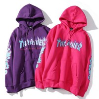 Thrasher Fashion Flame Print Long Sleeve Hooded Pullover Sweater
