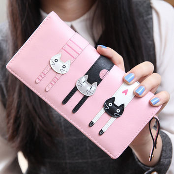 2016 New Fashion Envelope Women Wallet Cat Cartoon Wallet Long Creative Female Card Holder  PU wallet coin purses Girls