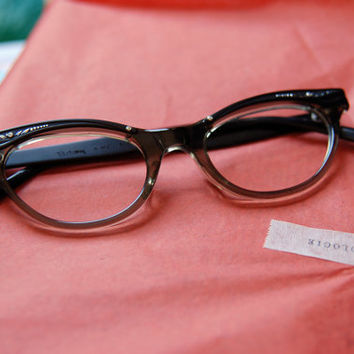 1950's Black and Smoky Grey Cat Eye Eyeglass by BoldSparrowVintage