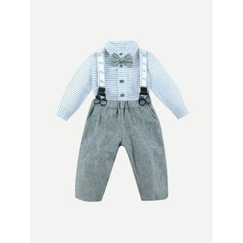 Kids Bow Tie Striped Shirt With Pants
