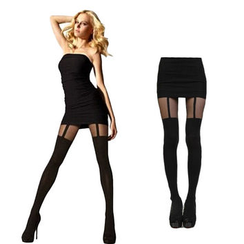 Women Mock Suspender Tight