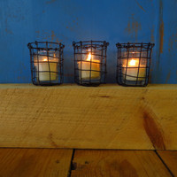 Handmade Woven Wire Votive Candle Holders
