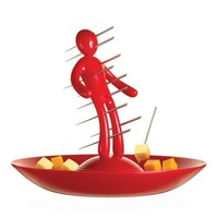 The Ex Skewer Set with Unique Red Holder and Tray Designed By Raffaele Iannello
