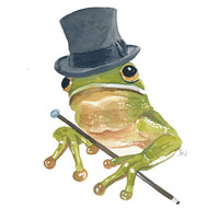 Original Frog Watercolour Illustration Painting - Tree Frog, Top Hat and Cane, 8x10