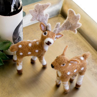(Set of 2) Felt Deer with Spots